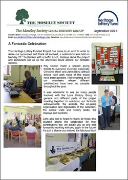 Moseley History News September 2013
